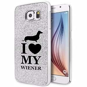 Samsung Galaxy S6 Edge Glitter Bling Hard Case Cover I Love Heart My Wiener Dachshund (Silver)
