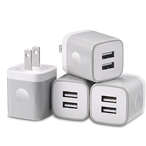 USB Wall Charger, Charging Block, LOOGGO 4-Pack 2.1Amps Dual Port USB Plug Charger Adapter Charging Cube Compatible with iPhone Xs X 9 8 7 6 Plus 5S, iPad, Samsung, LG, HTC, Moto and More -Grey