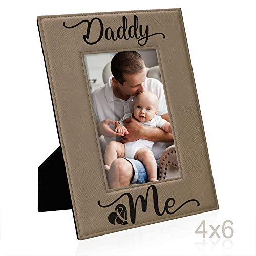Kate Posh Daddy and Me Engraved Leather Picture Frame, First (1st), Birthday & Christmas for Dad, New Dad, Daddy & Me, I Love You Dad, Best Dad Ever Gifts (4x6-Vertical)