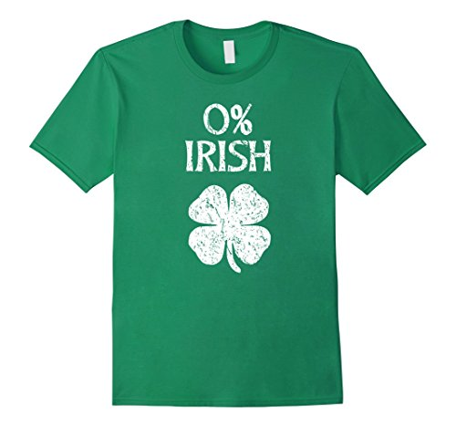 Mens 0% Irish Vintage St. Patrick Day T Shirt Small Kelly Green