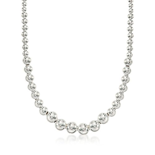 Ross-Simons Italian 4-10mm Sterling Silver Graduated Bead Necklace. 17.5