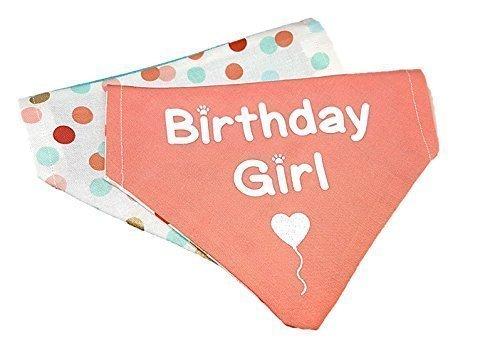 Birthday Girl reversible polka dot glitter dog bandana