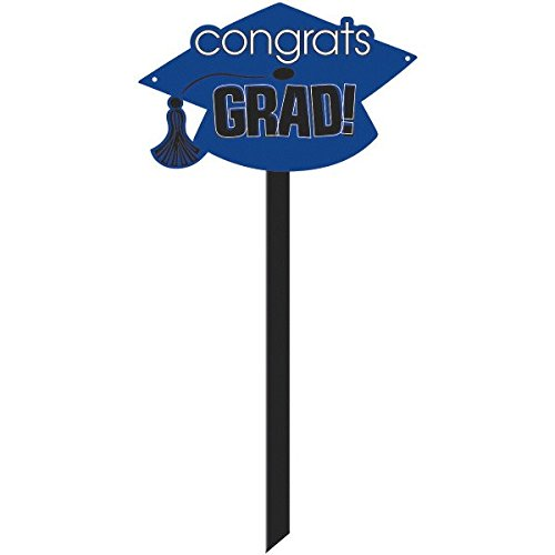 amscan Congrats Grad Graduation Party Mortarboard Yard Sign Decoration, Blue, Plastic , 15