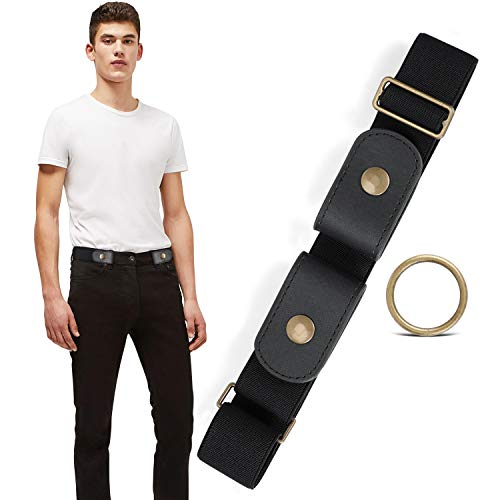 No Buckle Stretch No Show Belt for Men 1.38 inches Wide, Buckless Invisible Elastic Belt for Jeans Pants by WHIPPY (Black, Small Size 30-48 inches)