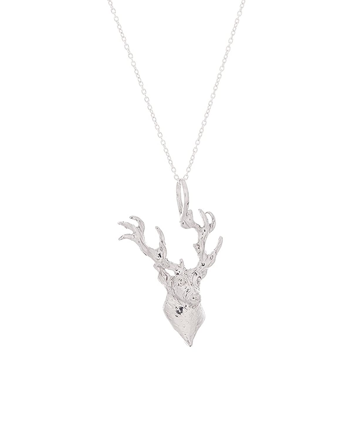 """.925 Sterling Silver Deer Head Pendant w/ 18"""" Cable Chain Necklace"""