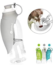 Portable Pet Water Bottle by LumoLeaf, Reversible & Lightweight Water Dispenser for Dogs and Cats, Made of Food-Grade Silicone (20 Oz) … (Grey)