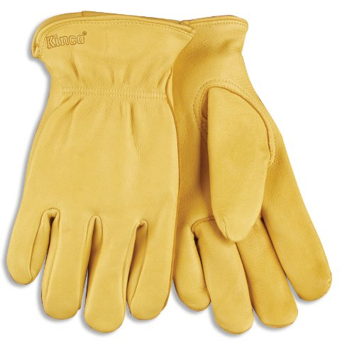 (KINCO 90-L Men's Unlined Gloves, Grain Deerskin Drivers, Large, Brown)