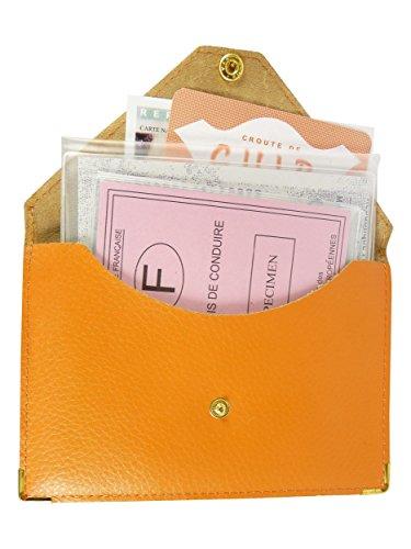 Etui Porte Voiture Carte permis Grise Orange Carte Papier Bleu Pochette 6Wpqdnd