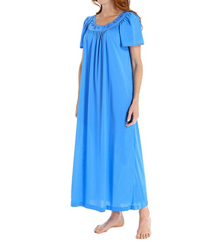 Unmentionables Embroidered Yoke Long Gown (6295) 3X/Sapphire