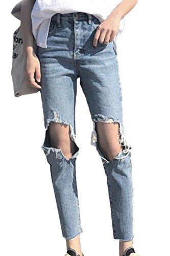 Jeans Donne Yulinge Strappato Blu Lunghi Destoryed Caviglia Pantaloni Le Alla Denim wBxHxqYZ5