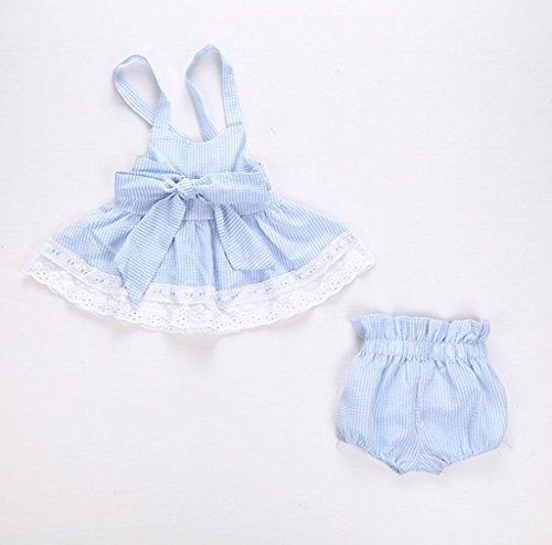 Morecome Baby Girls Bowknot T-Shirt&Shorts&Headband Outfits Set (0-6M, Light Blue)