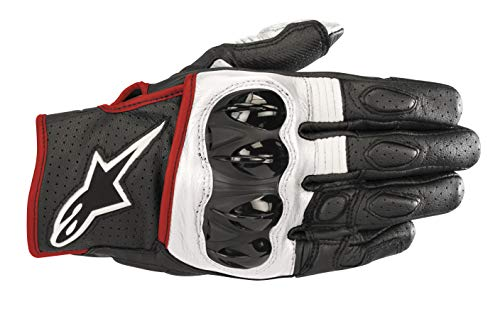 Celer v2 Leather Motorcycle Short-Cuff Glove (Extra Large, Black White Red Fluo) -
