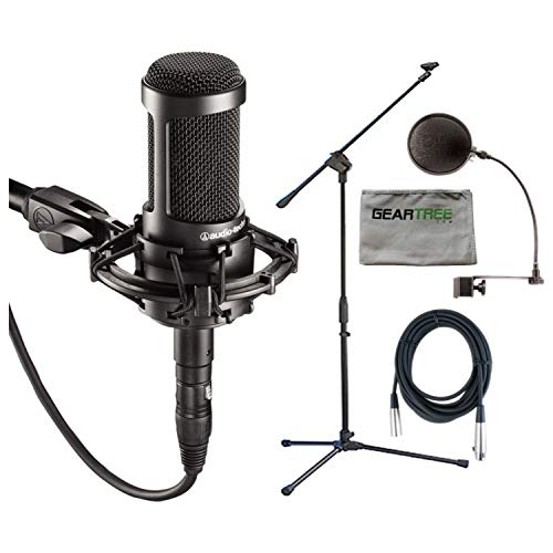 Audio Technica AT2035 Condenser Mic + Pop Filter + Mic Stand + XLR Cable Audio Technica Recording Package