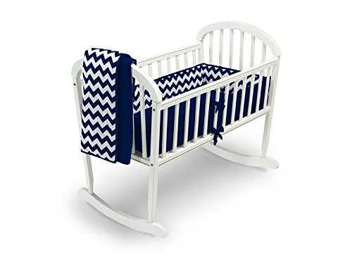 Baby Doll Bedding  Chevron Cradle Bedding Set, Navy
