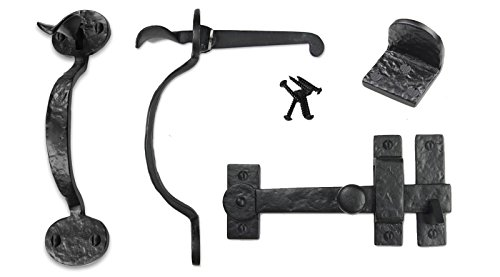 Iron Valley - Gate Kit - Drop Bar, Bean Thumb Latch, Gate Stop - Solid Cast Iron -