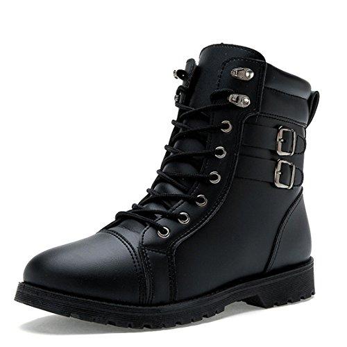 Bottines De Cheville Martin Solide Pour Hommes Bottes De Combat À Lacets Chaussures Dhiver 70911 Noir