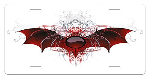 - Lunarable Vampire License Plate, Round Figure with Dragon Wings Grungy Display Victorian Ornaments Antique Style, High Gloss Aluminum Novelty Plate, 5.88 L X 11.88 W Inches, Red Grey Black