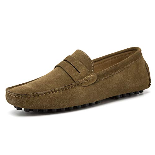 Go Tour Men's Penny Loafers Moccasin Driving Shoes Slip On Flats Boat Shoes Khaki 14/50 (Shoes Driving Loafer)