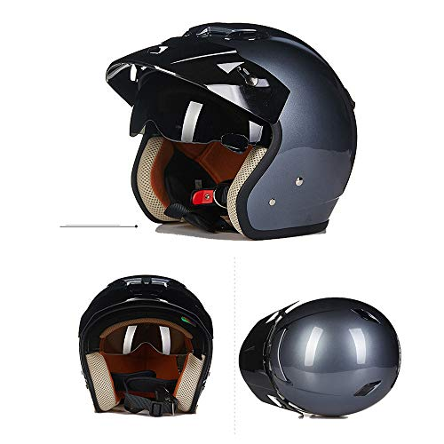 MMGIRLS Harley Half Shell Helmet Retro Motorcycle Helmet DOT Approved Men and Women Models 3/4 Open face Helmet - Iron Gray,XL