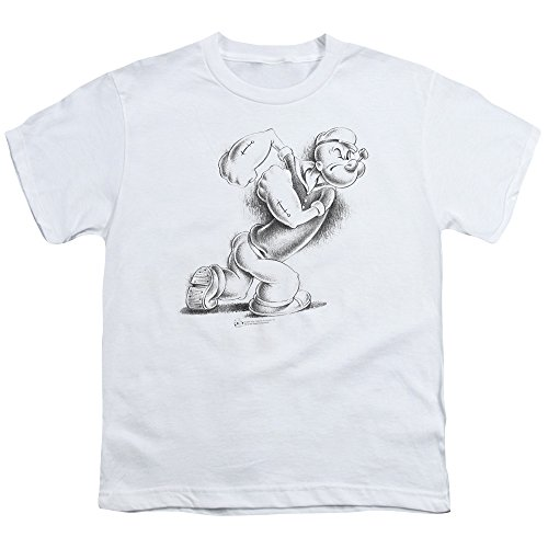 (Popeye Here Comes Trouble Unisex Youth T Shirt for Boys and Girls, X-Large White)