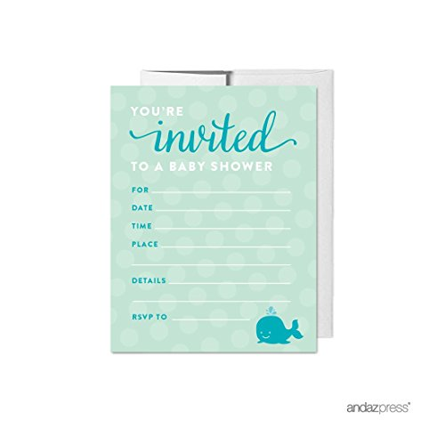 (Andaz Press Boy Whale Nautical Baby Shower Collection, Blank Invitations with Envelopes,)