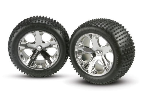 Traxxas 3770 Alias Tires Pre-Glued on All Star Chrome Wheels, Rear (pair) (Alias Traxxas Tires)