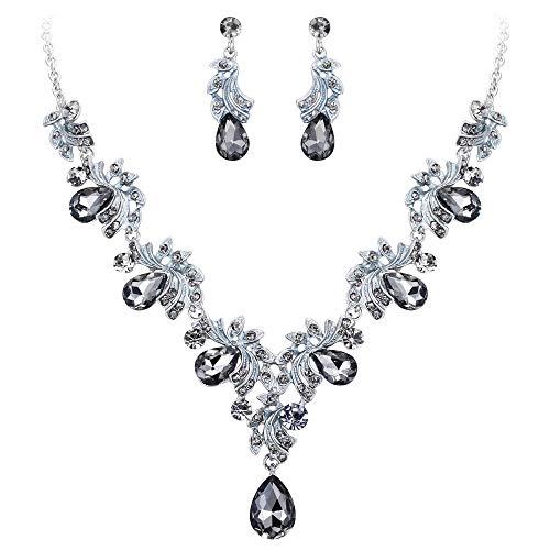 Silver Earrings Engagement (BriLove Wedding Bridal Necklace Earrings Jewelry Set for Women Crystal Teardrop Filigree Leaf Twig Enamel Statement Necklace Dangle Earrings Set Grey Black Silver-Tone)