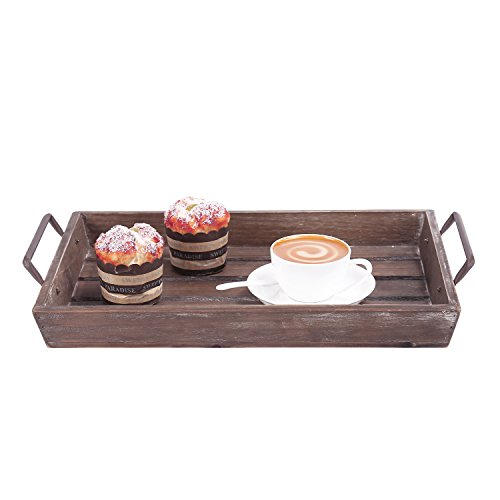 Distressed Wood Slat Nesting Breakfast Serving Trays w/ Antique-Style Metal Handles, Set of 3, Brown by MyGift (Image #3)