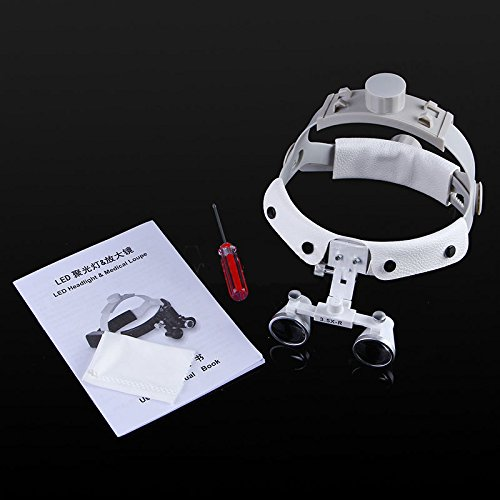 Zgood Dental White LED Head Light + Dental Surgical Glasses Binocular Loupes DY-108 3.5X-R by Zgood (Image #7)