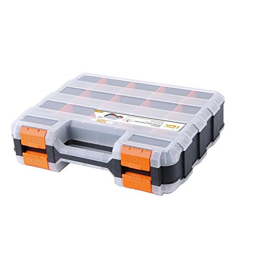 HDX 320028 34-Compartment Double Sided Organizer with Impact Resistant Polymer and Customizable Removable Plastic Dividers Double Sided Organizer
