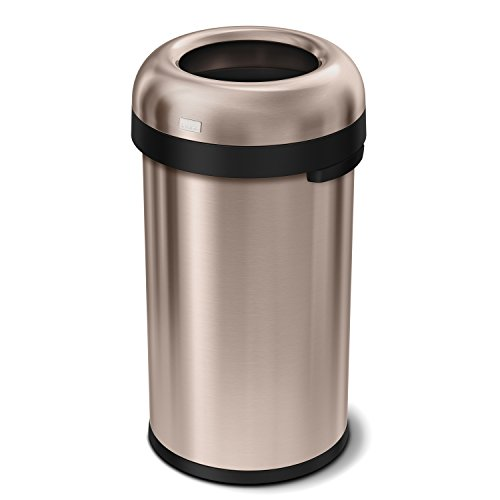 simplehuman Bullet Open Top Trash Can, Commercial Grade, Heavy Gauge Rose Gold Stainless Steel, 60 L / 16 (Ada Compliant Rose)