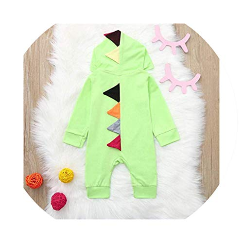 Baby Kids Dinosaur Costume Rompers ropa Warm Cotton Romper Playsuit Clothes,Green,6M -