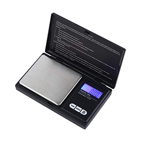 Jewelry Food Digital Pocket Scale,High Accuracy within 200 g/0.01 g,Travel Personal Nutrition Scale,Portable Silver Coin Weed Herb Medicine Gram Weight Scale,Black