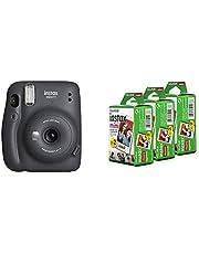 Fujifilm Instax Mini 11 Instant Camera (Charcoal Grey) Bundle with Instax Mini Film, White Multi-Pack (60 Exposures)