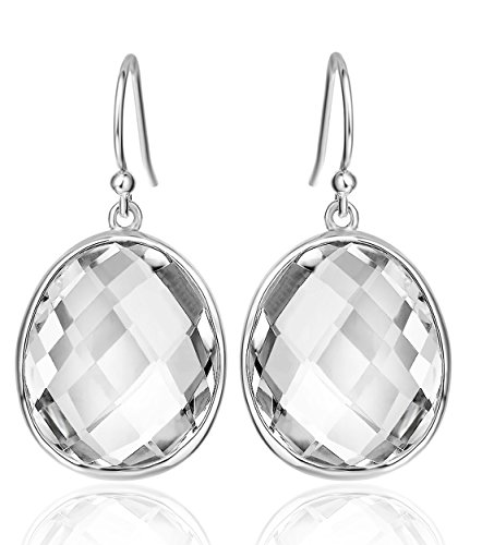 Mother's Day Gifts Elda&Co Fine Sterling Silver Dangle Earrings White Quartz Birthday Gifts Jewelry for Women 1125 (22 Carat White Quartz)