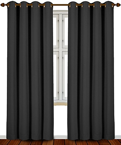 Utopia Bedding 52 Inch Wide X 84 inch Long Blackout Window Panel Curtains, Black, Set of - 2 Black With