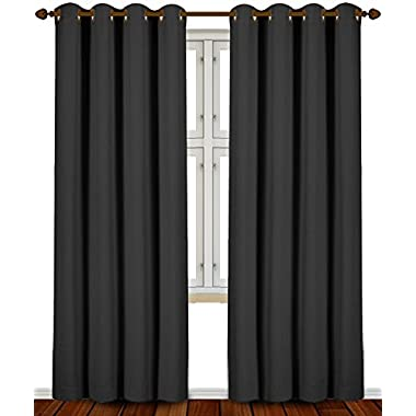 Blackout Room Darkening Curtains Window Panel Drapes - Black - 2 Panel Set 52 Inch Wide By 84 inch Long Each Panel- By Utopia Bedding