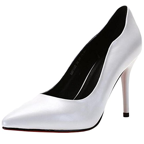 WKNBEU Puntera De Las Mujeres Punta del Dedo del Pie Negro Blanco Vestido De Trabajo De Cuero Real De La Oficina De Moda Tacón De Aguja Zapatos Altos,White-36