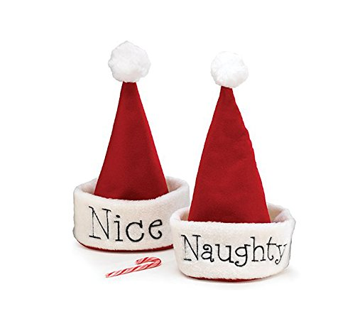 Santa Christmas Hat with Hand Stitched Naughty Or Nice Festive Holiday Hat
