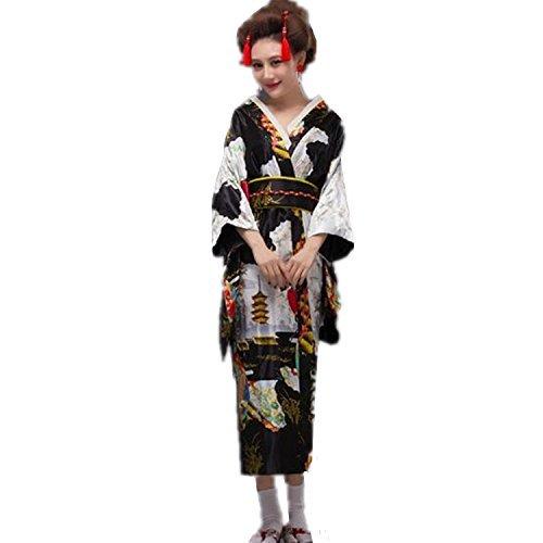 [[BTW.JP] Women's Yukata Japanese Dress Traditional Satin Kimono Long Robe (black)] (Girls Pink Samurai Costumes)