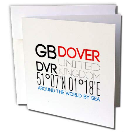 3dRose Alexis Design - Around The World by Sea - Decorative Text GB DVR Dover, United Kingdom, Geographic Coordinates - 12 Greeting Cards with envelopes (gc_303816_2) ()