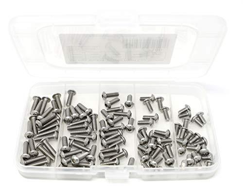 iExcell 100 Pcs M4 x 8mm / 10mm / 12mm / 14mm / 16mm Stainless Steel 304 Hex Socket Button Head Cap Screws Kit, Silver Tone