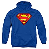 Superman Classic Logo Pull-Over Hoodie Sweatshirt & Stickers