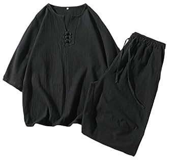Men 2 Pieces Short Sleeve Linen Shirts + Shorts Sweatsuit Outfit Set Black 2XL