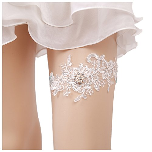 Wedding Lace Garter Set Tradition Vintage For Bridal And Bridesmaid (Pearl Flowers) (Lace Bridal Garter Set)