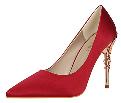 T&Mates Womens Elegant Versatile Satin Pointed Toe Plated High Heel Wedding Dressy Pumps Shoes (7.5 (Adult Red Sequin Shoe Covers)