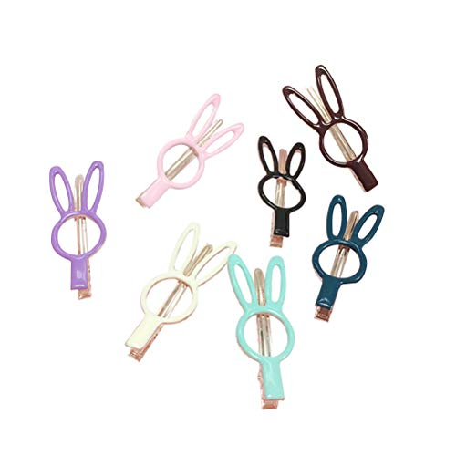 Amosfun 7pcs Rabbit Shape Hair Pin Rabbit Hollow Alloy Hair Clip Geometric Bunny Decoration Hair Accessories Hair Snap for Toddlers Girls Kids Baby Girls and Women (Easter Bunny Clip)