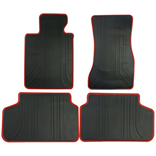 biosp Car Floor Mats for BMW 5 Series 2017 2018 2019 520i 530i 540i(G30/G31)Front And Rear Heavy Duty Rubber Liner Set Black Red Vehicle Carpet Custom Fit-All Weather Guard -
