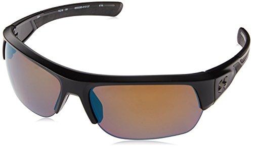(Under Armour Wrap Sunglasses, UA Big Shot Satin Black/Shoreline Polarized, XL)