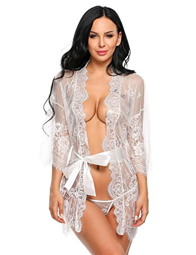 Langle Women Lace Kimono Robe Sexy Chemise Mesh Sheer Baby Doll Sleepwear (White, Small) (Womens Polyester Baby Sheer Doll)